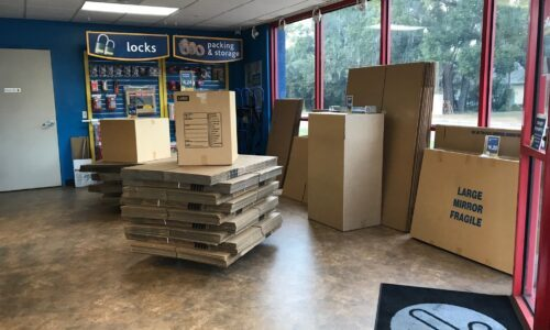 Boxes and moving supplies at Compass Self Storage in Tampa, FL.