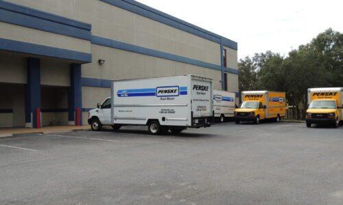 Penske rental trucks at Compass Self Storage in Bradenton, FL.