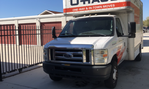 Uhaul moving truck at Compass Self Storage in New Port Richey, FL.