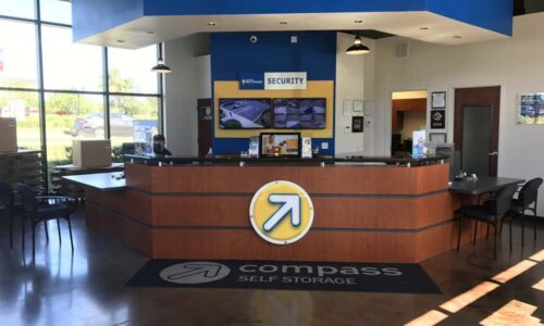 A Compass Self Storage Facility office in Oxford, FL.