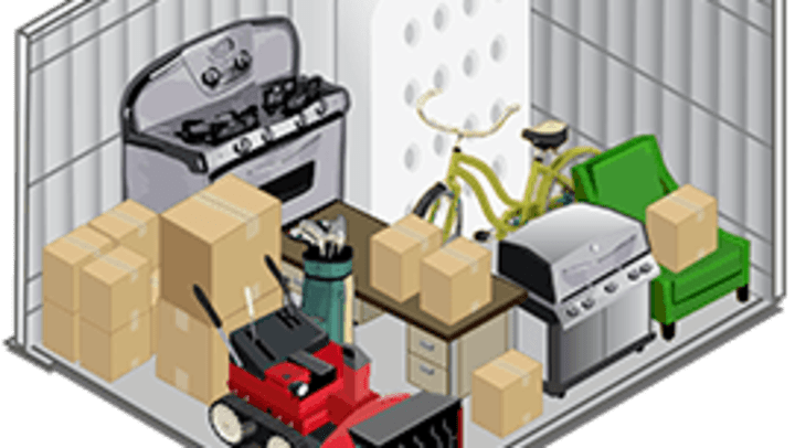 Graphic showing various items in a virtual 10x10 storage unit.