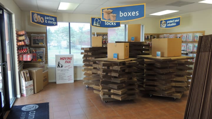 Moving boxes and packing supplies at Compass Self Storage.