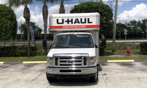 Uhaul rental truck at Compass Self Storage in West Palm Beach.