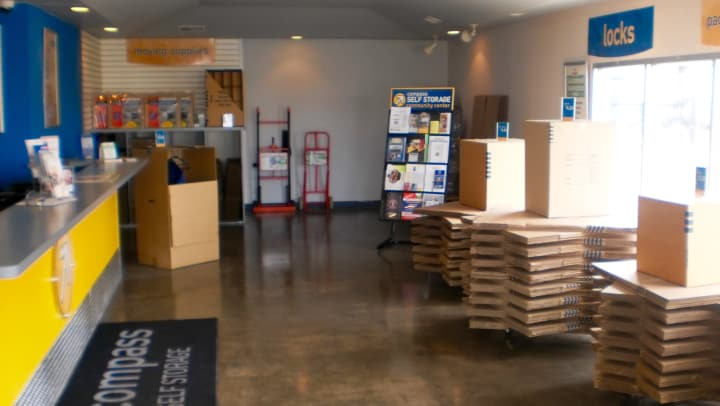 Boxes and moving supplies available at Compass Self Storage.