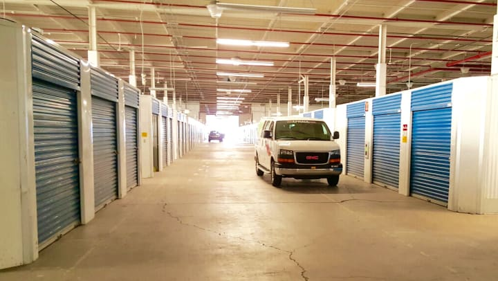 Climate controlled drive-through aisle at Compass Self Storage.