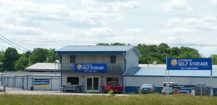 Street view of Compass Self Storage facility in Shelbyville, Tennessee.
