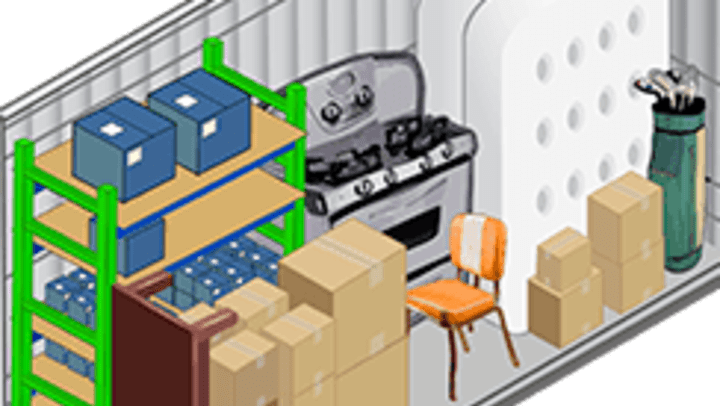 Graphic showing various objects in a 5x10 storage unit.