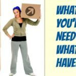 """Woman holding moving box with the text, """"What you'll need and what we have."""""""