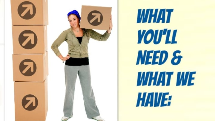 "Woman holding moving box with the text, ""What you'll need and what we have."""