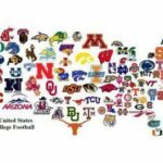 Graphic of U.S. college football teams in the shape of the United States.