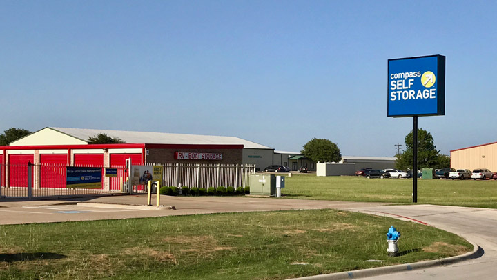 Street view of Compass Self Storage facility in McKinney, Texas.