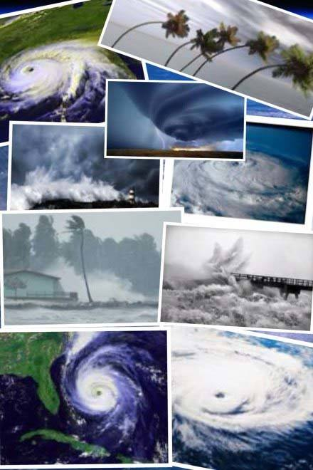 Collage of hurricane pictures.