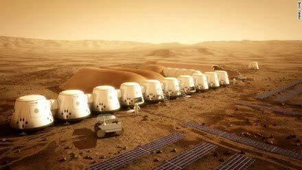 Illustration of humans living on Mars.