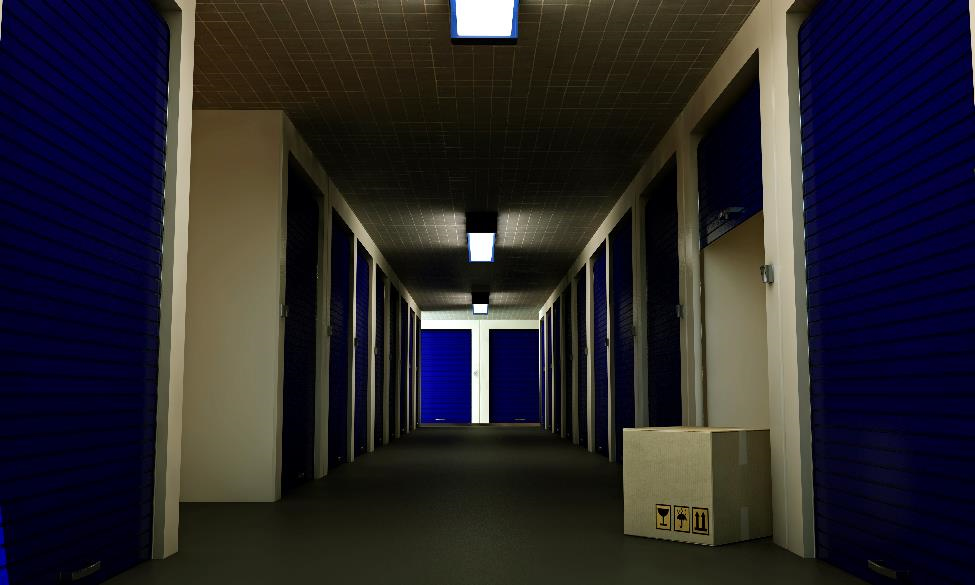 Interior hallway of a storage facility.