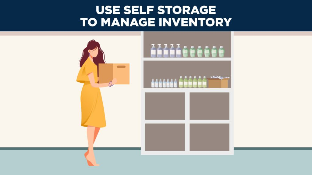 a woman organizes her product inventory in a self storage unit