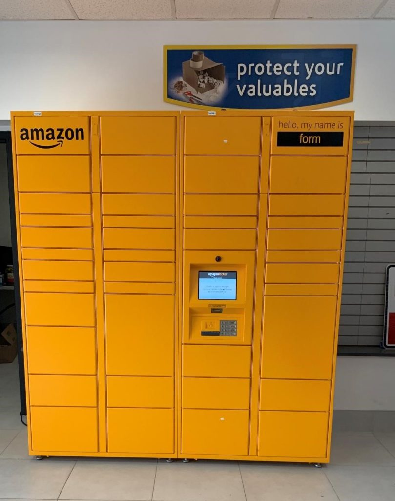 A unit of Amazon Lockers at a Compass Self Storage facility