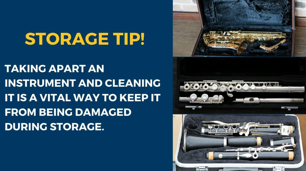 Three woodwind instruments, a saxophone, flute, and clarinet. They have been disassembled and cleaned to protect them from being damaged while in storage.