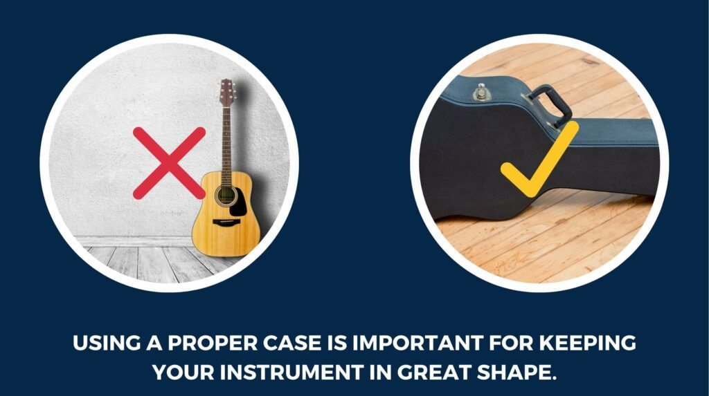 """Two guitars. One is inside a black hardshell case, the other is not. The caption reads """"Using a proper case is important for keeping your instrument in great shape."""""""