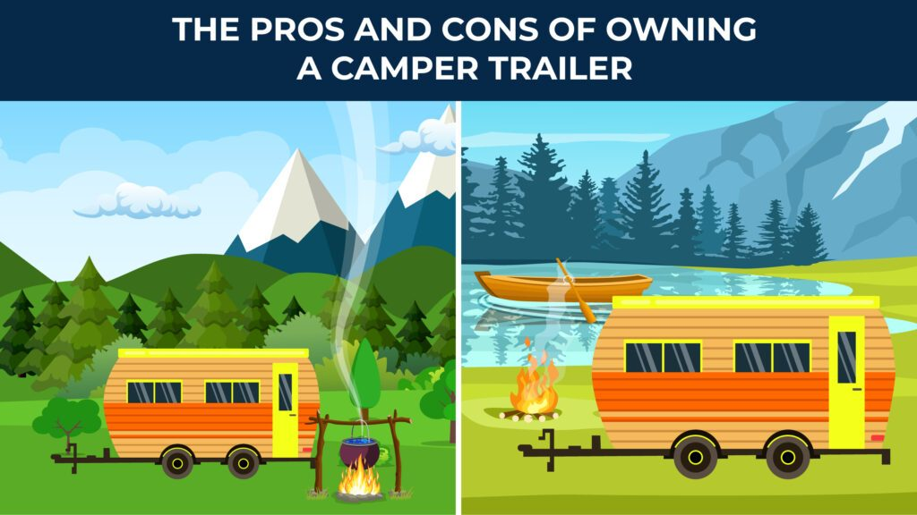 illustrated camper sitting outside with mountains and next to a lake