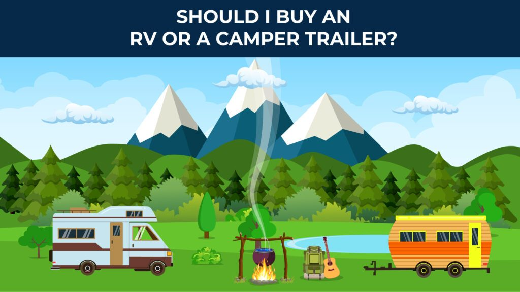 illustrated rv and camper with mountains in the background