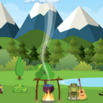 illustrated rv and camper trailer sitting by a lake