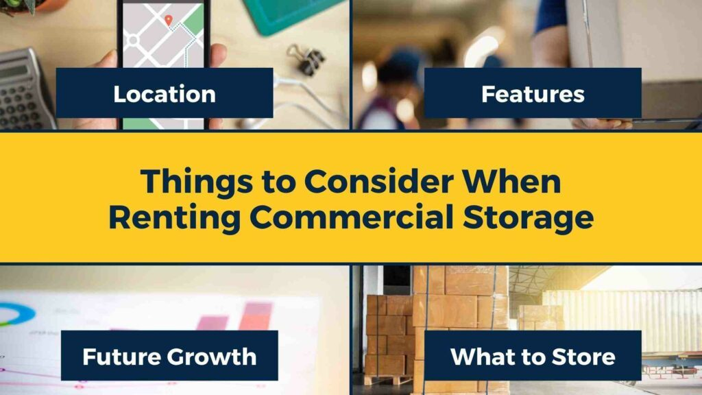 A collage outlining what to consider when renting commercial storage: location, features, future growth, and what to store