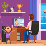 an illustration of a college student learning on his computer while his family erupts into chaos around him