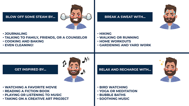 an illustration of how to de-stress while learning remotely