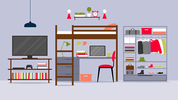 an illustration of a well-organized dorm room that makes the most of its storage space