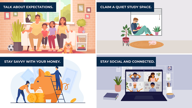 an illustration of four tips to remote learn at home
